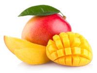 fresh mango with slices isolated on white background